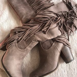 Knee High Gray Faux Suade Boots